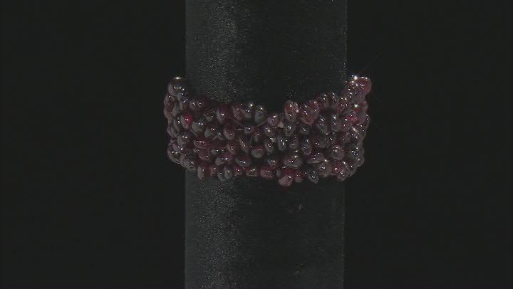 Garnet, Amethyst  & Crystal Quartz Set of 3 Stretch Bracelet