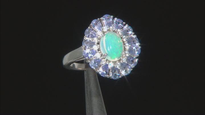 Ethiopian Opal Rhodium Over Silver Ring