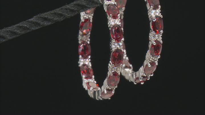 Red Garnet Sterling Silver Hoop Earrings 12.75ctw
