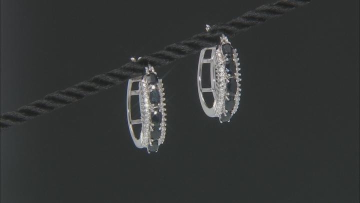 Blue Sapphire Sterling Silver Hoop Earrings 2.66ctw