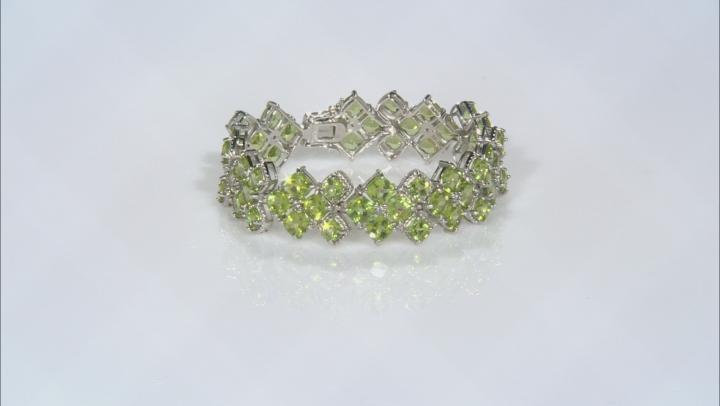 Green Peridot Rhodium Over Sterling Silver Bracelet 43.20ctw