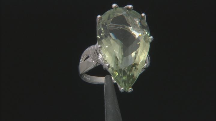 Green Prasiolite Rhodium Over Silver Ring 18.50ct