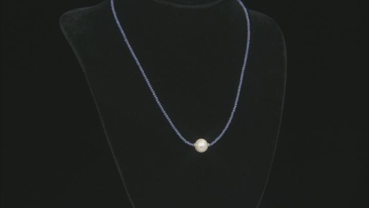 Blue Tanzanite Bead Rhodium Over Silver Necklace 14.00ctw