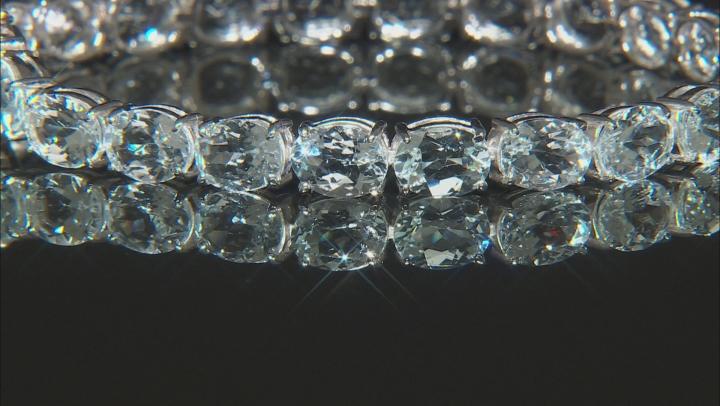 Aquamarine Rhodium Over Silver Tennis Bracelet 25ctw