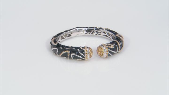 Yellow Citrine Black Enamel Rhodium Over Sterling Silver Bracelet 2.84ctw