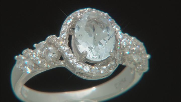 Aquamarine Rhodium Over Sterling Silver Ring 1.68ctw