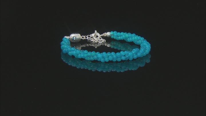 Paraiba Blue Color Opal Bead Sterling Silver Bracelet 15.00ctw