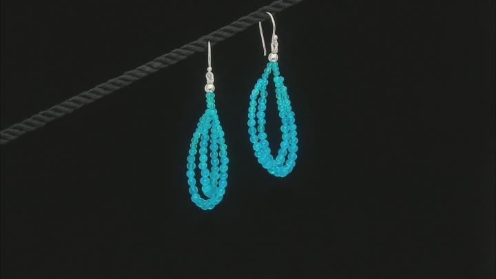 Paraiba Blue Color Opal Bead Sterling Silver Earrings 10.00ctw