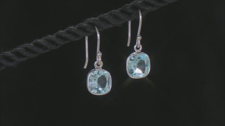 Blue Topaz Rhodium Over Silver Earrings3.00ctw