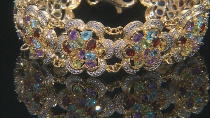 Multi Gemstone 18k Yellow Gold Over Sterling Silver Bracelet 14.00ctw