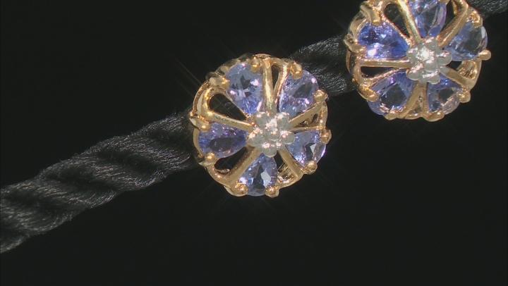 Blue Tanzanite 10k Yellow Gold Floral Stud Earrings 1.19ctw