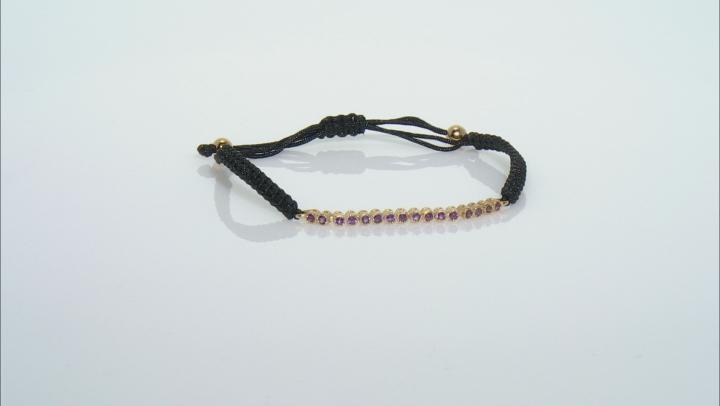 Purple Amethyst Black Cord 18k Yellow Gold oVer Sterling Silver Bracelet 0.48ctw