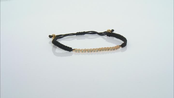 Swiss Blue Topaz Black Cord 18k Yellow Gold Over Sterling Silver Bracelet 0.72ctw