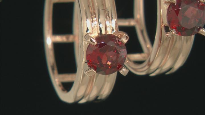 Red Garnet 18k Rose Gold Over Sterling Silver Hoop Earrings 1.20ctw
