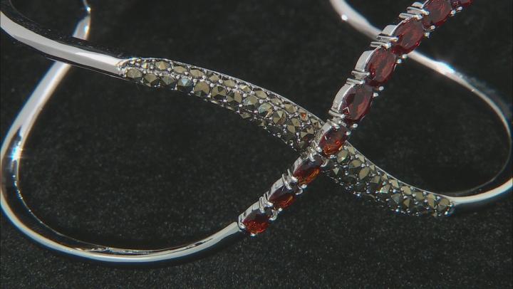 Red Garnet Rhodium Over Sterling Silver Cuff Bracelet 4.20ctw