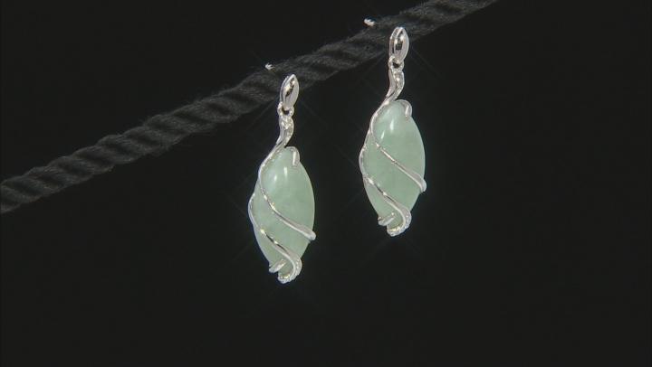 Green Jadeite Rhodium Over Sterling Silver Earrings 0.02ctw