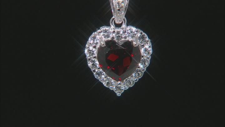 Garnet Rhodium Over Sterling Silver heart Pendant W/ Chain 3.00ctw