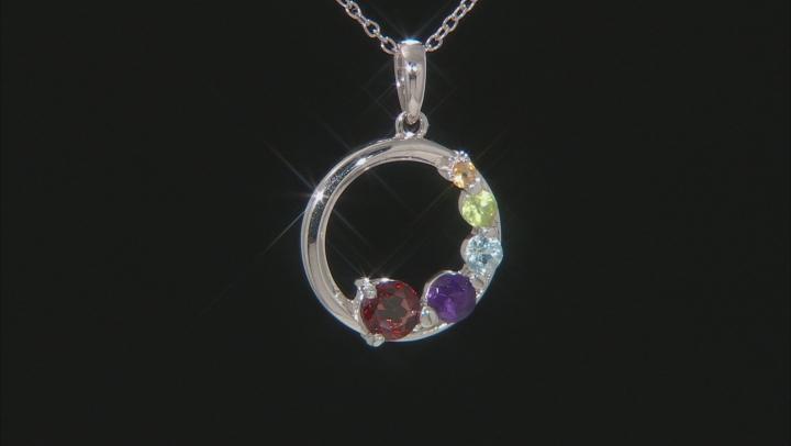 Multi- Gemstone Rhodium Over Silver Pendant W/ Chain 0.71ctw