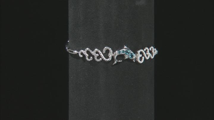 London Blue Topaz Sterling Silver Dolphin Bracelet 0.35ctw