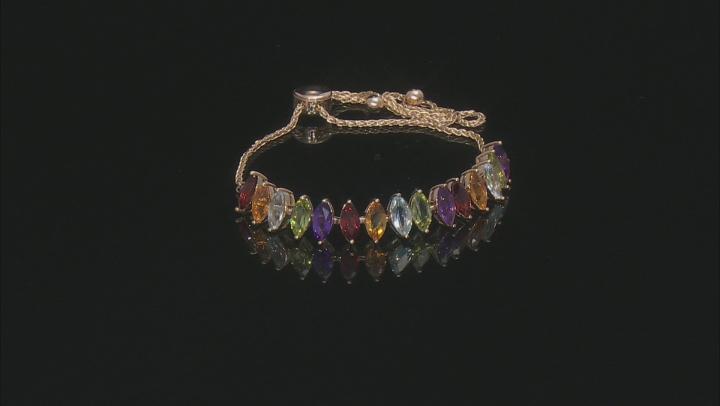 Multi Gemstone 10k Yellow Bolo Bracelet
