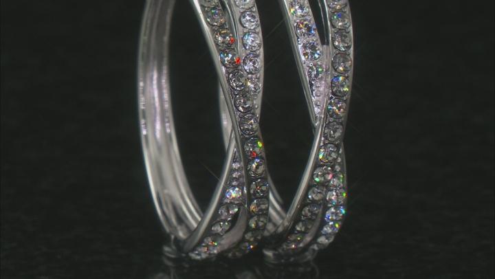 Black And White Swarovski Crystal Rhodium Over Sterling Silver Hoop Earrings
