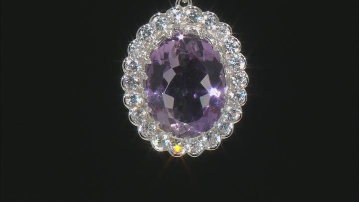 Purple Lavender Amethyst Rhodium Over Silver Pendant 18.00ctw