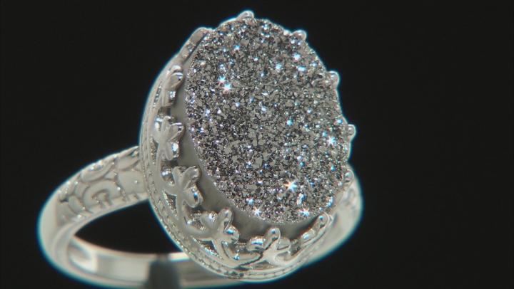 Platinum Color Drusy Quartz Rhodium Over Silver Ring