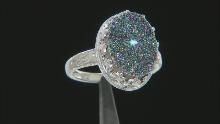 Rainbow Green Drusy Quartz Rhodium Over Silver Ring