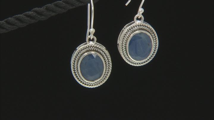 Blue Sapphire Sterling Silver Earrings 8.00ctw
