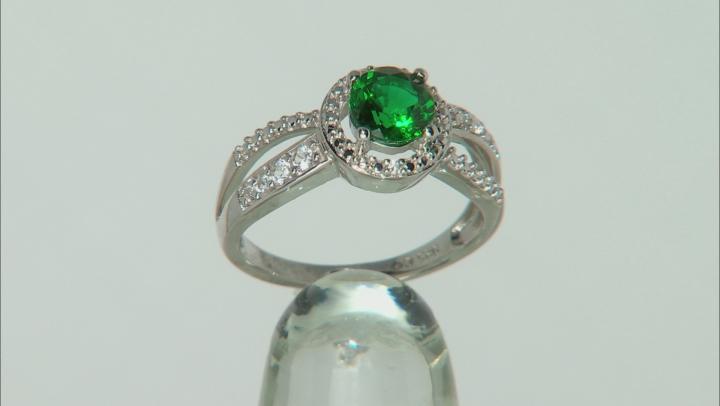 Lab Created Emerald Rhodium Over Silver Ring 0.95ctw