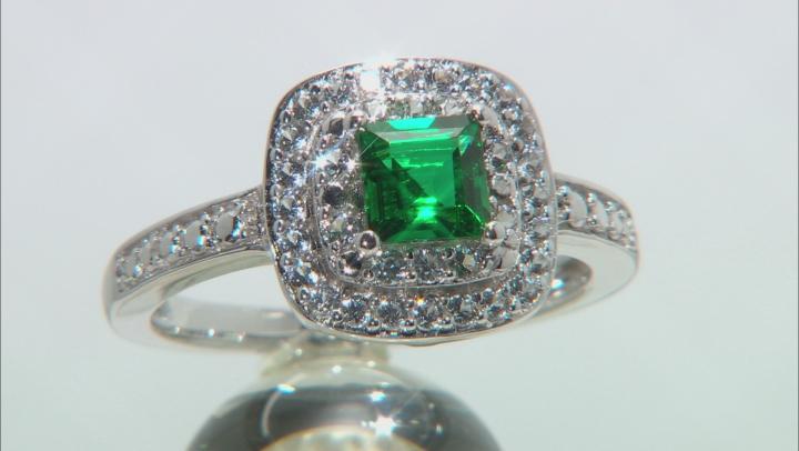 Lab Created Emerald Rhodium Over Silver Ring 1.98ctw