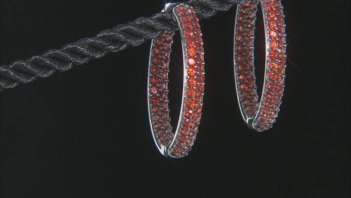 Garnet Rhodium Over Sterling Silver Inside/Out Hoop Earrings 6.00ctw