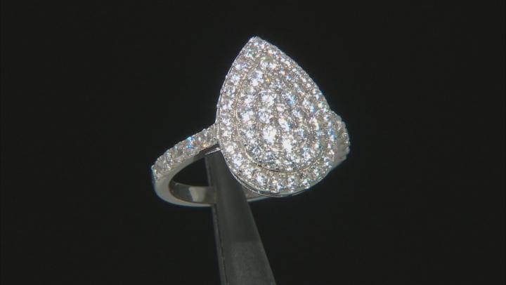 White Zircon Rhodium Over Sterling Silver Ring 2.10ctw