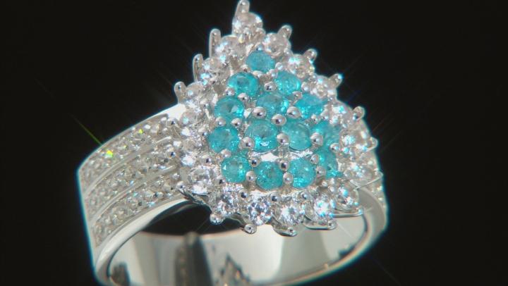 Neon Apatite Rhodium Over Silver Ring 1.55ctw