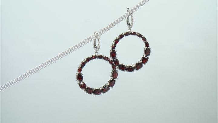 Red Garnet Rhodium Over Sterling Silver Dangle Earrings 21.67ctw