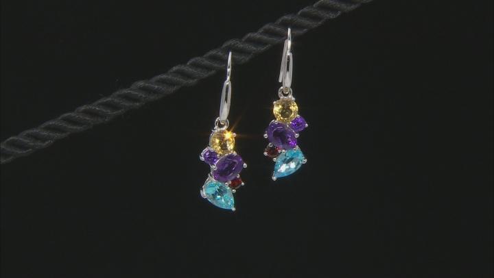 Multi-Gemstone Rhodium Over Sterling Silver Dangle Earrings