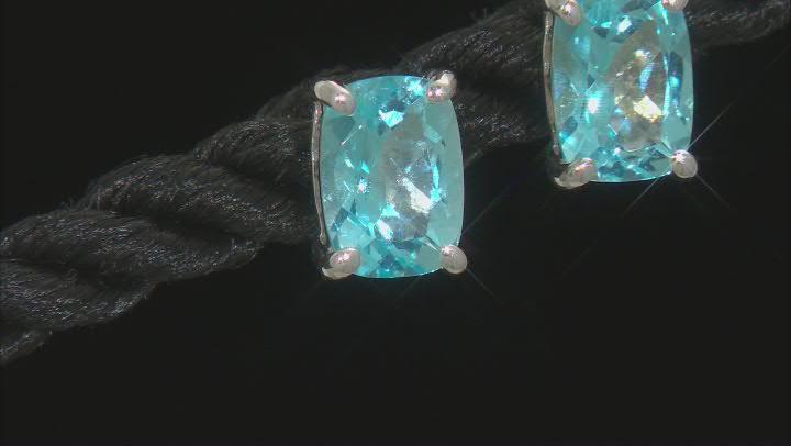 Swarovski Blue Topaz Rhodium Over Sterling Silver Earrings 2.30ctw
