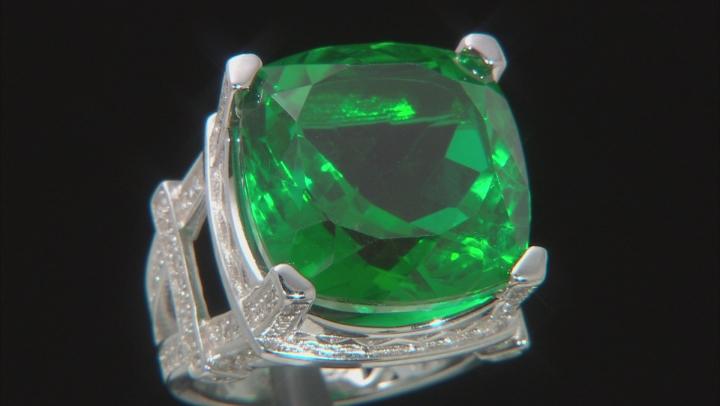 Emerald Color Quartz Doublet Sterling Silver Ring 10.75ctw