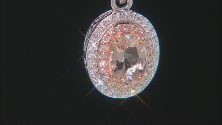Peach Morganite 10K White Gold Pendant With Chain 0.94ctw