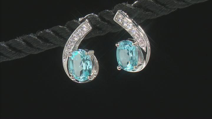 Swiss Blue Topaz Rhodium Over 10K White Gold Earrings 2.30ctw