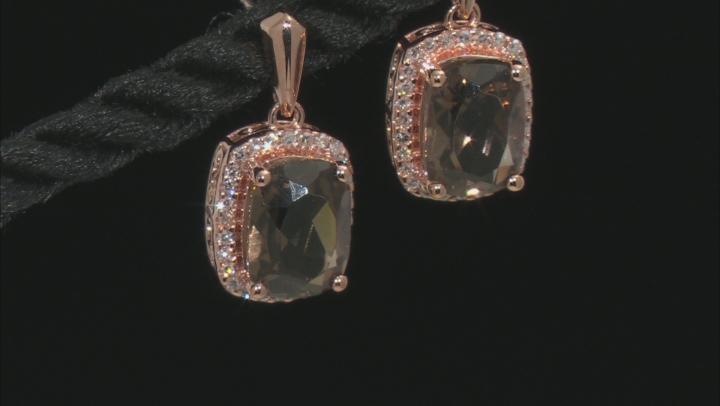 Smoky Quartz 10K Rose Gold Earrings 3.60ctw