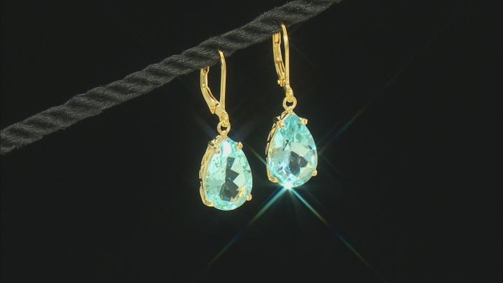 Swiss Blue Topaz 18k Yellow Gold Over Silver Earrings 11.50ctw