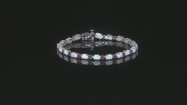 Lab Created Opal Sterling Silver Station Bracelet 2.00ctw