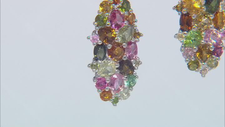 Tourmaline Rhodium Over Silver Earrings 6.00ctw