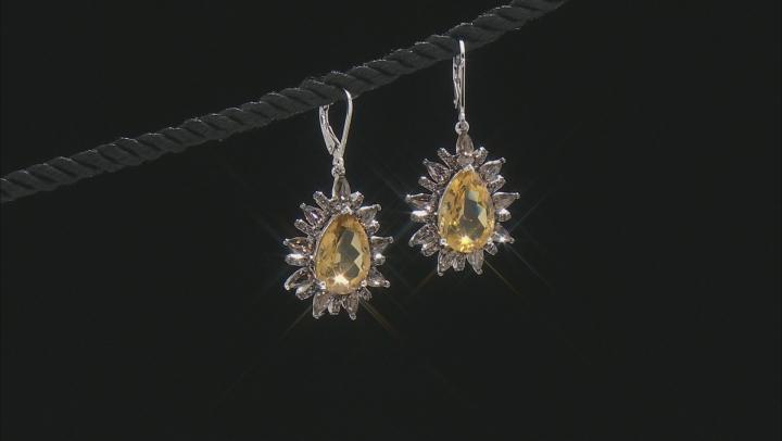 Golden Citrine Rhodium Over Sterling Silver Dangle Earrings 11.50ctw