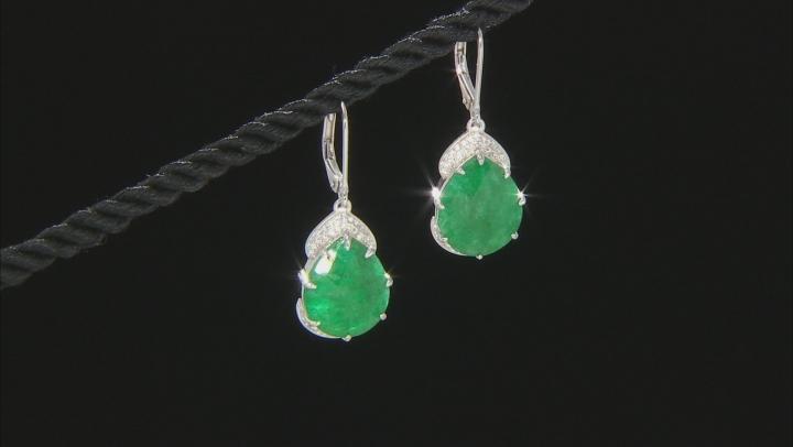 Green Beryl Rhodium Over Silver Earrings 19.00ctw