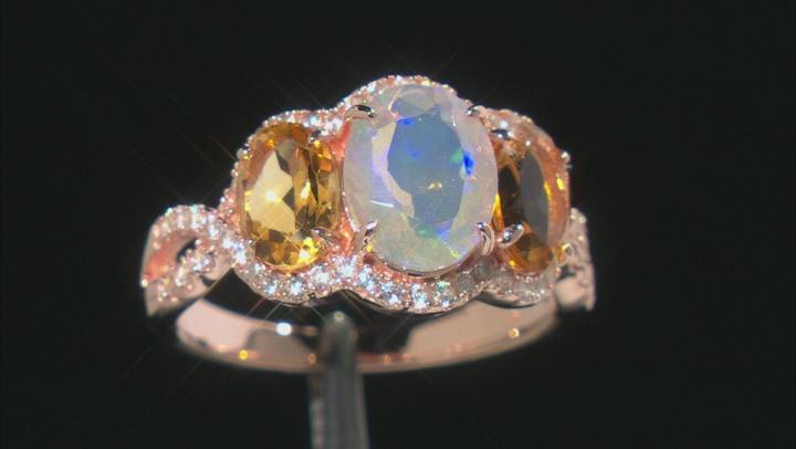 Opal 18K Rose Gold Over Sterling Silver Ring