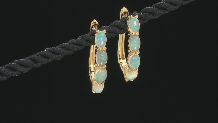 Opal 18K Yellow Gold Over Sterling Silver Huggie Earrings 6x4mm