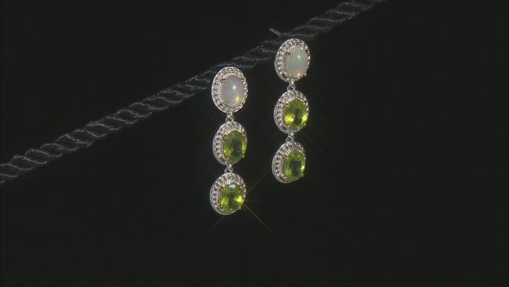 Opal Rhodium Over Sterling Silver Dangle Earrings 8x6mm