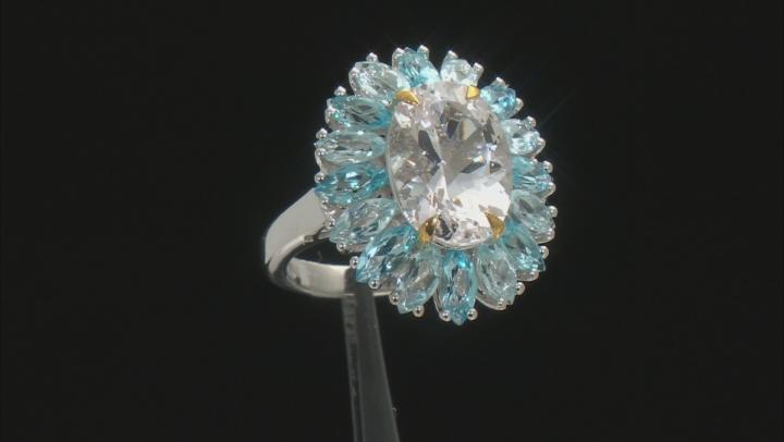 White Danburite Rhodium Over Sterling Silver Ring 9.08ctw